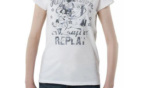 Dámské triko Replay bílé šedý potisk