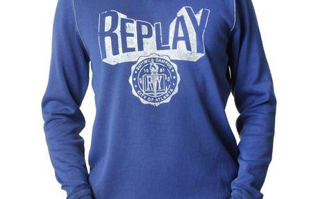 Pánská mikina Replay modrá bílý nápis