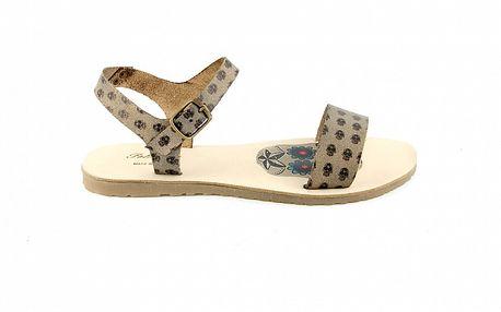 Dámske šedé sandále Pelledoca s lebkami