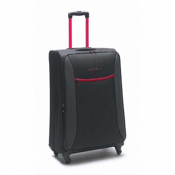 Černo-růžový velký kufr na kolečkách Esprit