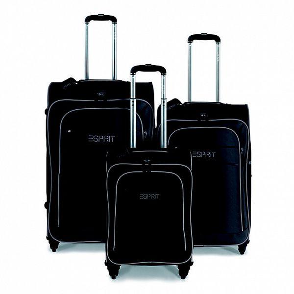 Černo-béžový set tří kufrů na kolečkách Esprit