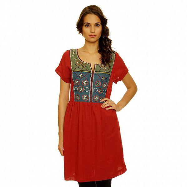 Dámské červené šaty s folklórním modro-zeleným živůtkem Nice Things