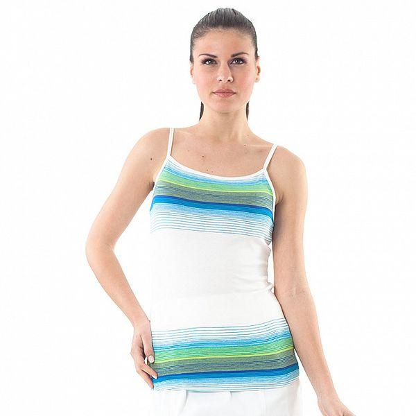 Dámské bílé šaty s modro-zelenými proužky Conquista