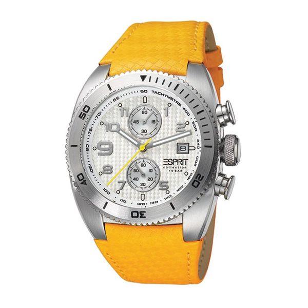 Pánské hodinky Esprit stříbrné žlutý pásek