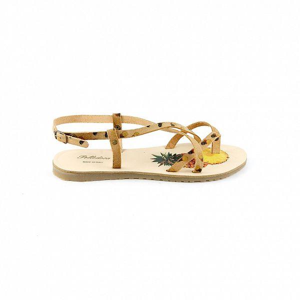Dámské béžové sandály Pelledoca s potiskem ananasů