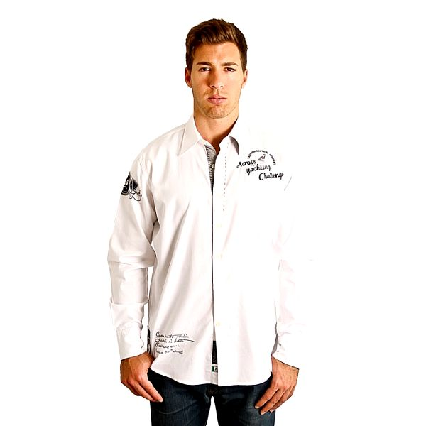 Pánská bílá košile s dlouhým rukávem a modrými nápisy M. Conte