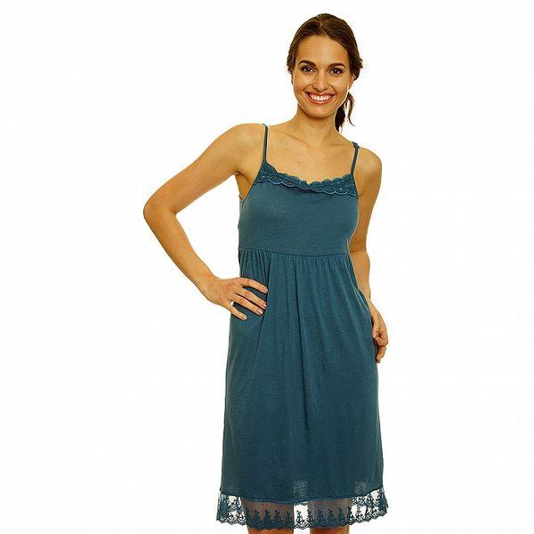 Dámské zelené šaty s krajkovým lemem Nice Things