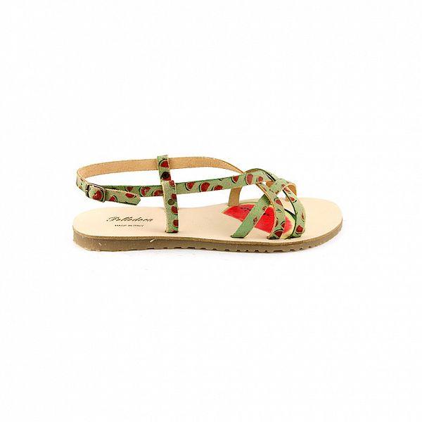 Dámské pastelově zelené sandály Pelledoca s potiskem melounů