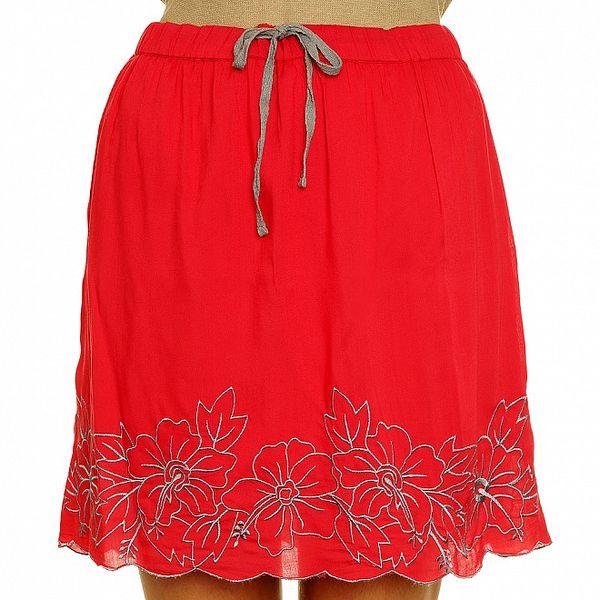 Dámská červená sukně s šedou výšivkou Nice Things