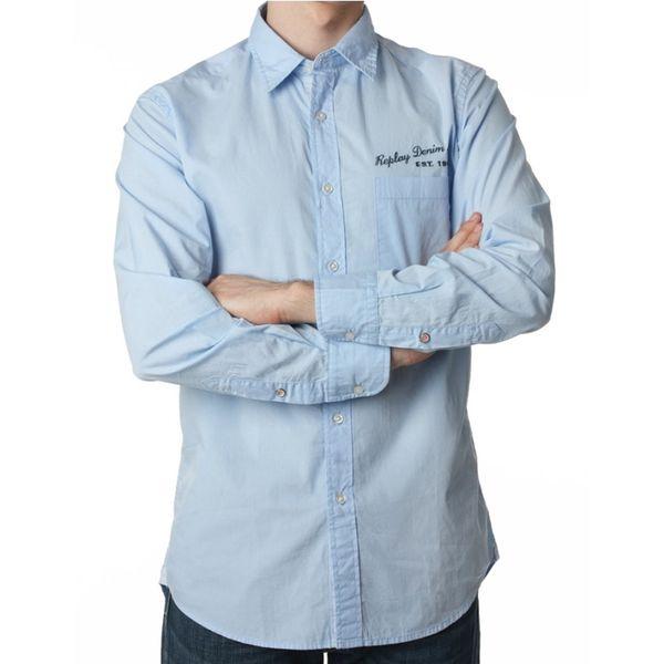 Pánská košile Replay světle modrá nápis
