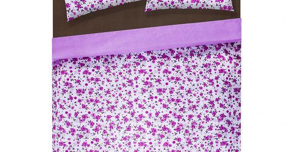 Povlečení Purple, 220x200 cm. Kromě jednoho povlaku na peřinu a dvou na polštář v balení najdete i prostěradlo v ladící barvě.