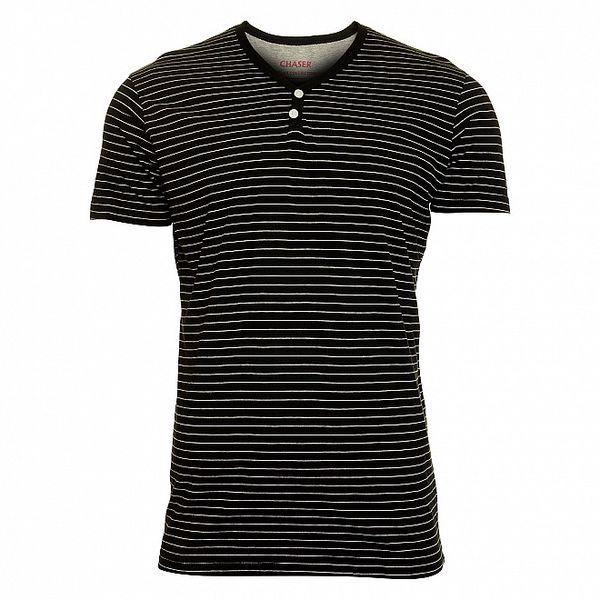 Pánske čierne pruhované tričko Chaser