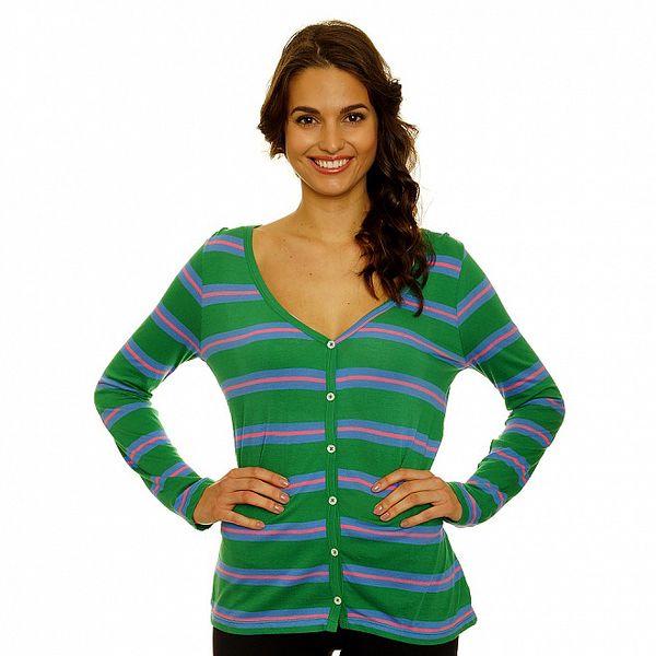 Dámsky zelený prepínací svetrík s modro-ružovými pruhmi Nice Things