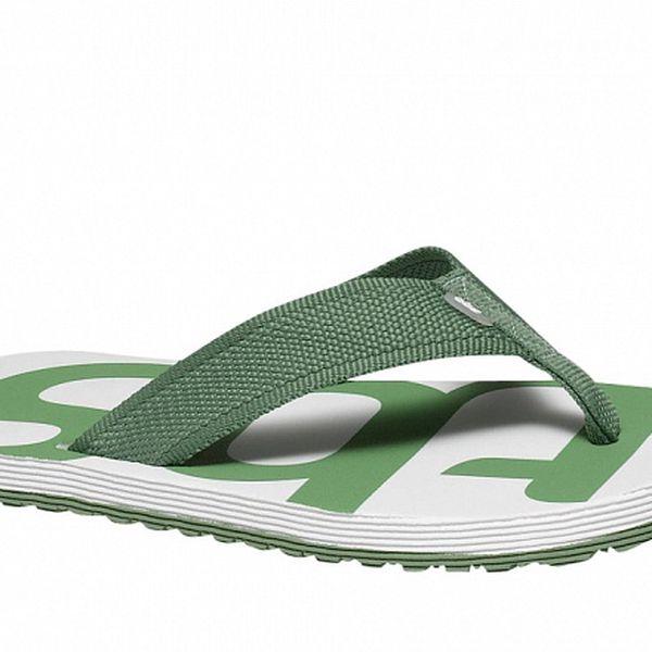 Pánské zeleno-bílé textilní žabky TBS