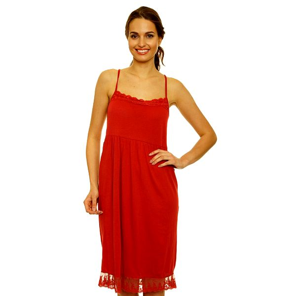 Dámske červené šaty s čipkovým lemom Nice Things