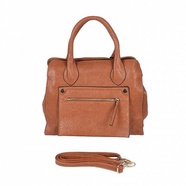 Dámska karamelová kabelka s vonkajším vreckom Marina Galanti
