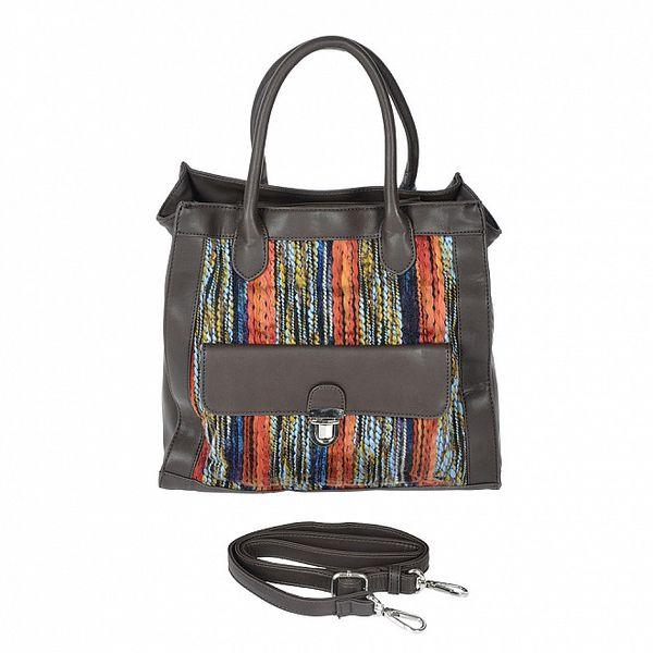 Dámska hnedá kabelka s oranžovo-modrým látkovým detailom Marina Galanti