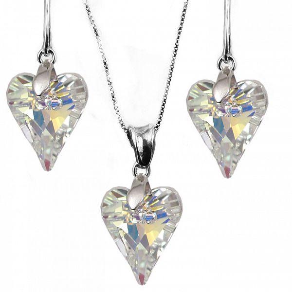 Set náušnice + přívěsek + řetízek s krystaly Swarovski Elements - prodloužené srdce měnící se AB barvy
