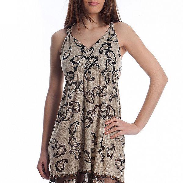 Dámské béžové šaty Cristian Lay s potiskem
