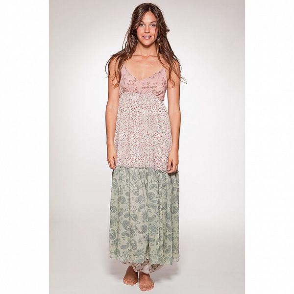 Dámské růžovo-zelené dlouhé letní šaty s květinovým potiskem Ian Mosh