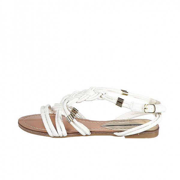 Dámske biele prepletané sandálky Drastik