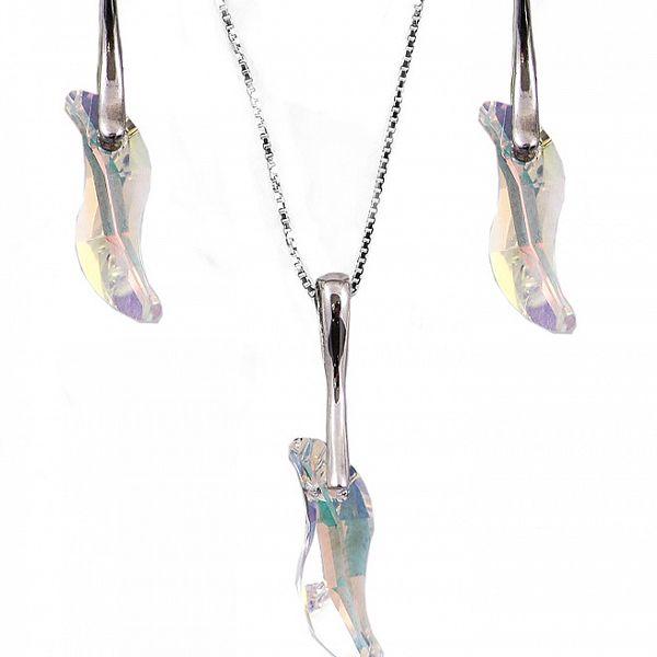 Set náušnice + přívěsek + řetízek s krystaly Swarovski Elements - krystal - novinky designera - v měnící se AB barvě