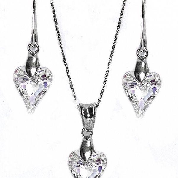Set náušnice + přívěsek + řetízek s krystaly Swarovski Elements - prodloužené srdce čiré barvy