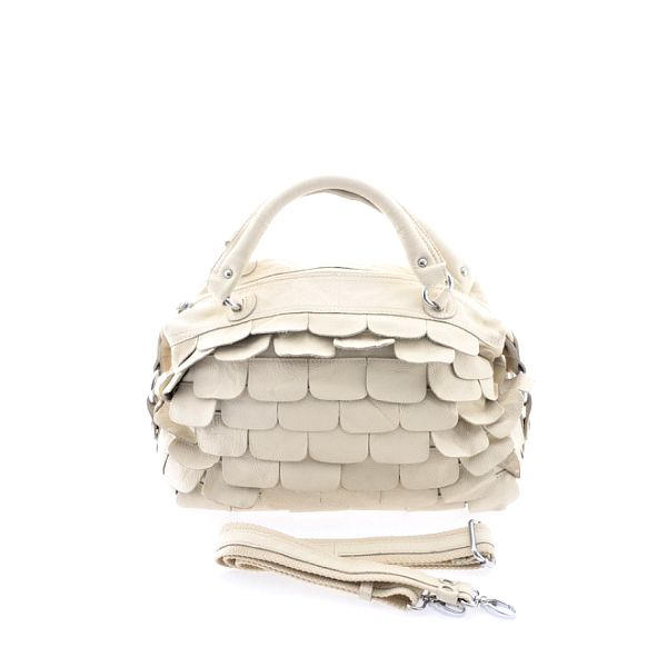 Dámska béžová kožená kabelka so šupinkami Marina Galanti