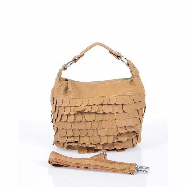Dámska ťavia kožená kabelka s koženými polkruhmi Marina Galanti
