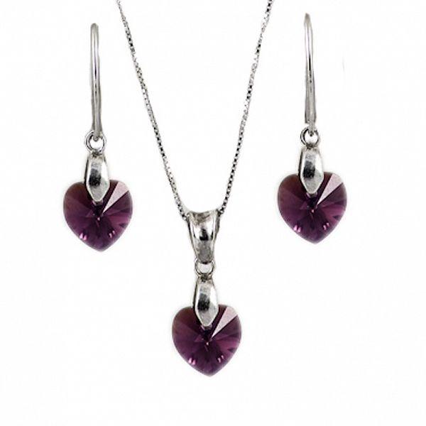Set náušnice + přívěsek + řetízek s krystaly Swarovski Elements - srdíčka fialové barvy
