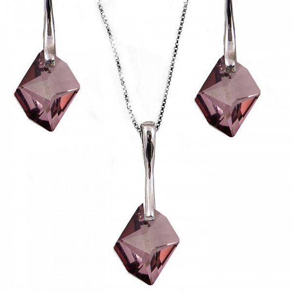 Set náušnice + přívěsek + řetízek s krystaly Swarovski Elements - krystal moderního tvaru ve starorůžové barvě