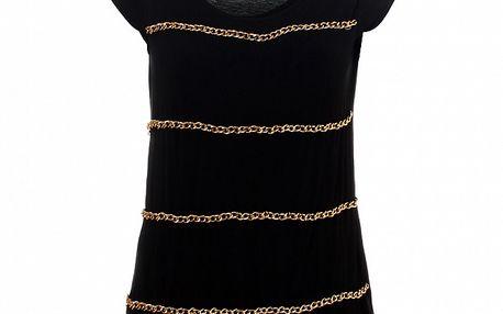 Dámské černé tričko Santa Barbara se zlatými řetízky