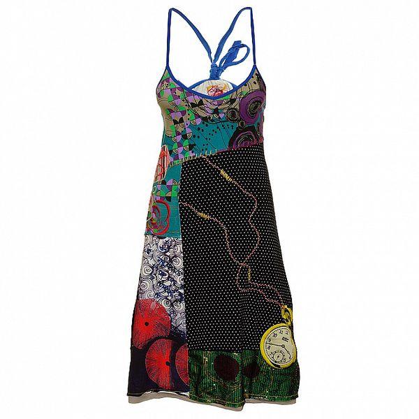 Dámské černo-zelené puntíkaté šaty s hodinkami Dislay DY Design