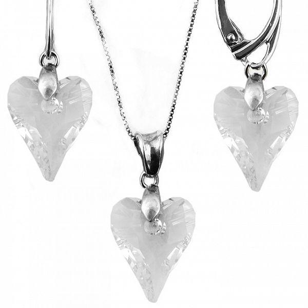 Set náušnice + prívesok + retiazka s kryštálmi Swarovski Elements - predĺžené srdce čirej farby