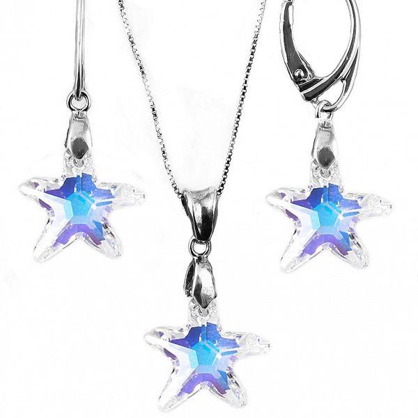 Set náušnice + prívesok + retiazka s kryštálmi Swarovski Elements - morská hviezdica meniacej a blyštiacej sa farby
