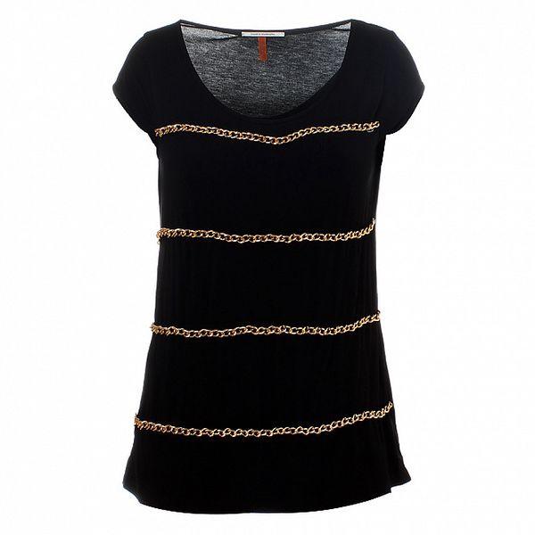 Dámske čierne tričko Santa Barbara so zlatými retiazkami