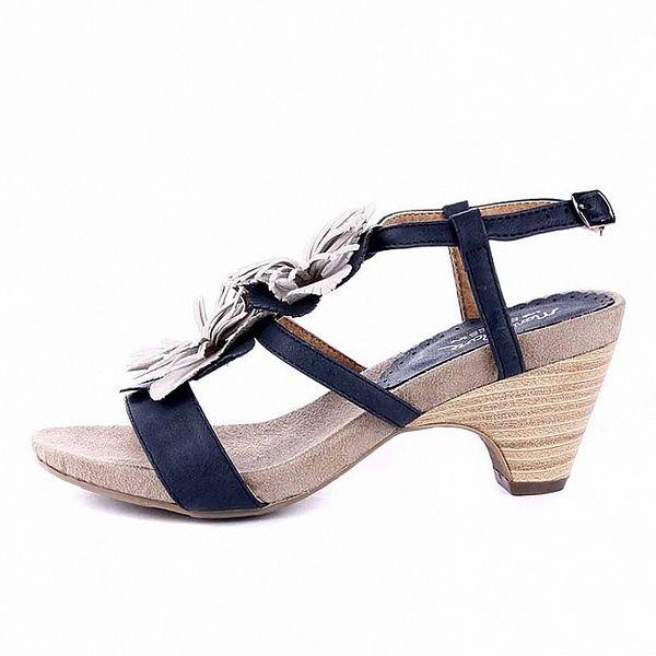 Dámské modro-bílé sandálky na podpatku Maria Mare