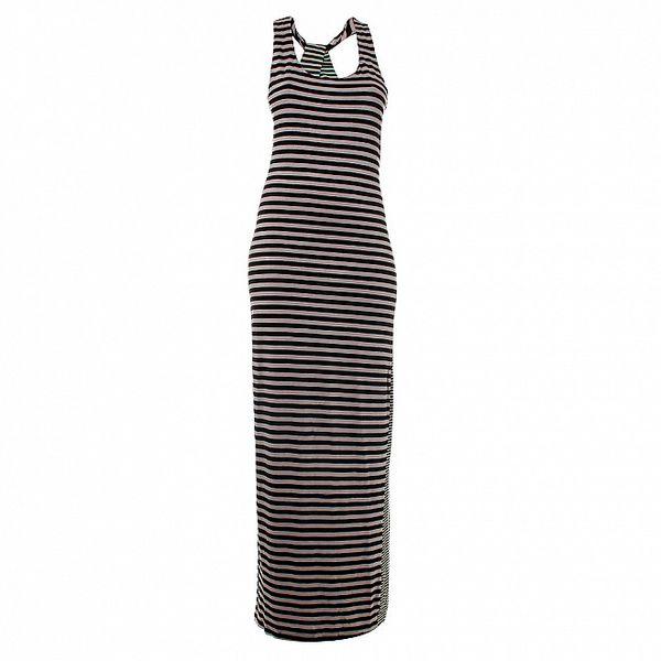Dámské dlouhé černo-šedé pruhované šaty Santa Barbara