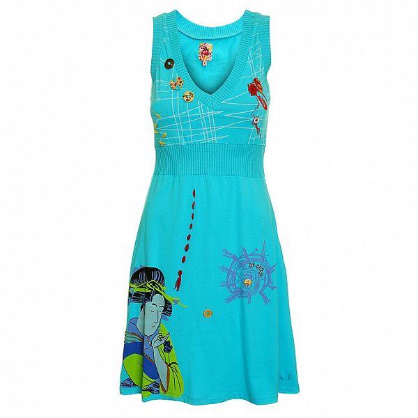 Dámské tyrkysové šaty Dislay DY Design s potiskem
