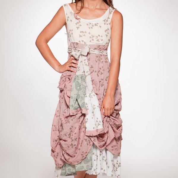 Dámske krémovo-ružové kvetinové šaty s mašľou Ian Mosh