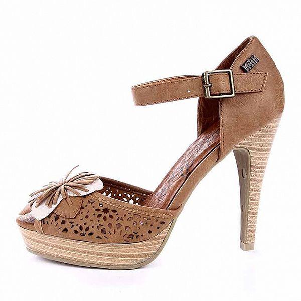 Dámské světle hnědé sandálky s perforací a květinou Maria Mare