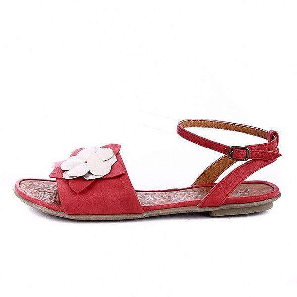 Dámske červené sandálky s bielou kvetinou Maria Mare