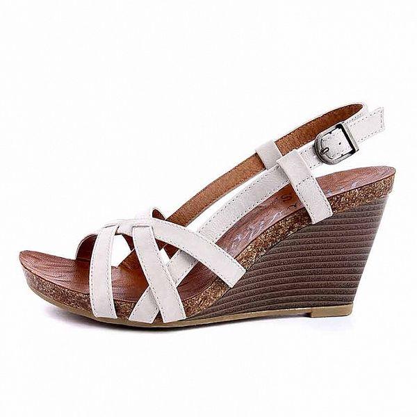 Dámské bílé sandálky s korkovou platformou Maria Mare