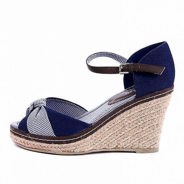 Dámske modro-hnedé sandále na jutovom podpätku Maria Mare