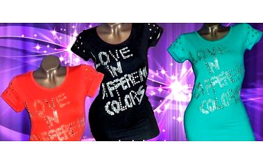 Vybíjané dámske tričko Love in za 6,50 € vrátane poštovného!