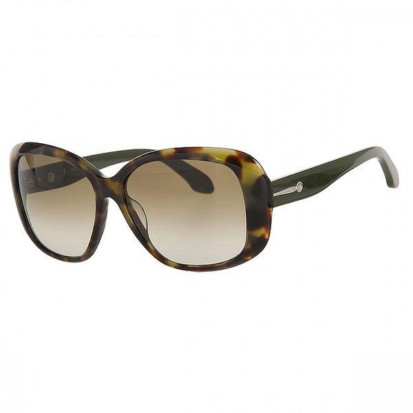 Dámske zeleno-hnedé slnečné okuliare Calvin Klein s kovovými detailami