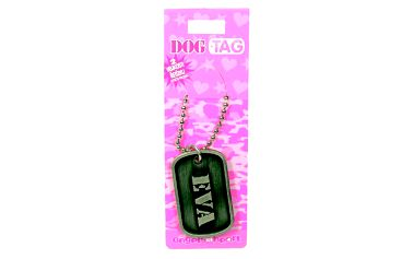 Dog Tag jména - dva řetízky v různých velikostech a identifikační známku se jménem.