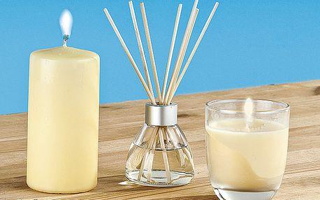 """Sada vonných svíček a bytového parfému """"Vanilka"""" - obsahuje bytový parfém a 2 vonné svíčky."""