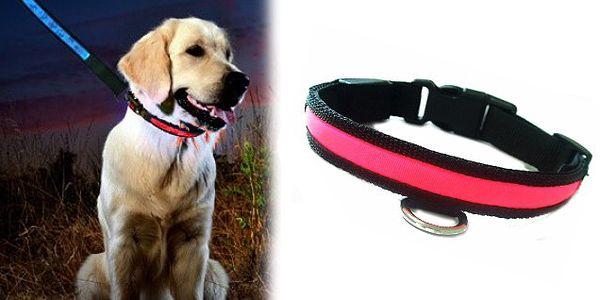 Svietiace LED obojok v červené farbe pre každého psíka s dobou svietenia až 80 hodín a 4 variantmi svietenie LED pásku!