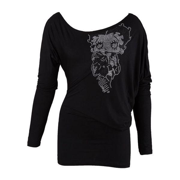 Dámské triko Betty Boop černé dlouhý rukáv kamínky